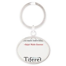 Ralph Waldo Emerson Quote Tall Oval Keychain