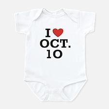 I Heart October 10 Infant Bodysuit