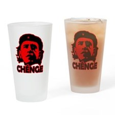 Che-Bama v4 Black On Red Drinking Glass