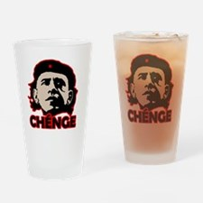Che-Bama v4 Black Grey On Red Drinking Glass