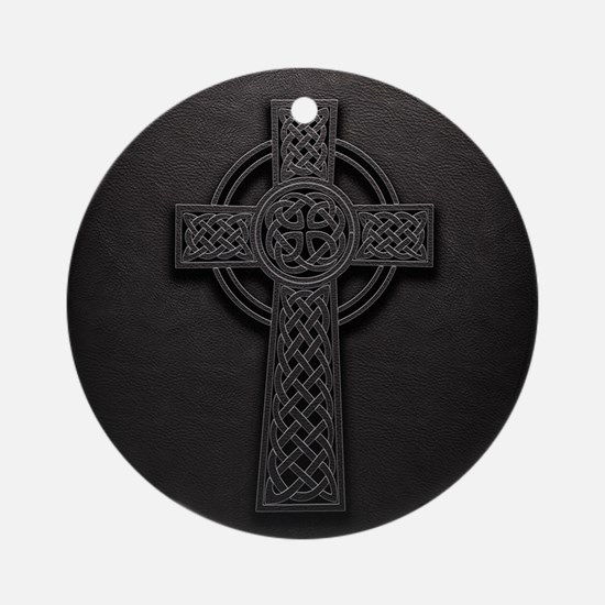 Celtic Knotwork Leather Cross Round Ornament