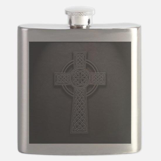Celtic Knotwork Leather Cross Flask