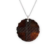 Celtic Knotwork Rust Cross Necklace