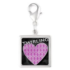 twirling Silver Square Charm