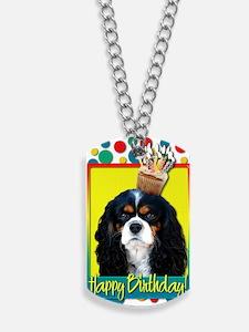 BirthdayCupcakeCavalierKingCharlesSpaniel Dog Tags