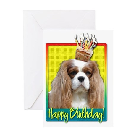 BirthdayCupcakeCavalierKingCharlesSp Greeting Card
