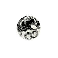 Yin Yang Dragon Enclosed Circle Mini Button