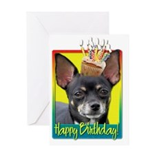BirthdayCupcakeChihuahuaIsabellaHB Greeting Card