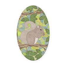 Grey Squirrel Oval Car Magnet
