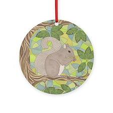 Grey Squirrel Round Ornament