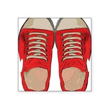 """Red Sneakers Square Sticker 3"""" x 3"""""""