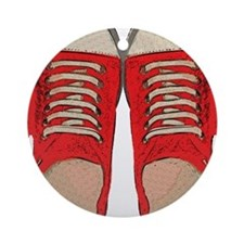 Red Sneakers Round Ornament