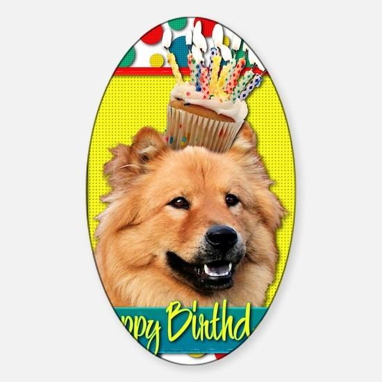 BirthdayCupcakeChowChowCinny Sticker (Oval)
