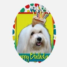 BirthdayCupcakeCotondeTulear Oval Ornament
