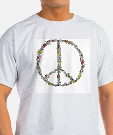 peace w flowers in color T-Shirt