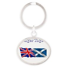 Stronger Together flags dark 6000 Oval Keychain