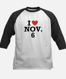 I Heart November 6 Kids Baseball Jersey