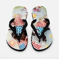 fourth of july bears Flip Flops