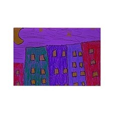 Stary_Night_landscape Rectangle Magnet