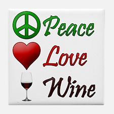 PeaceLoveWine Tile Coaster