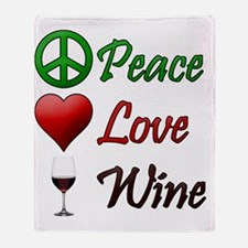 PeaceLoveWine Throw Blanket