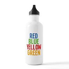 redblueyellowgreenw Water Bottle