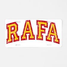 Rafa Red Yellow Aluminum License Plate