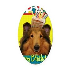 BirthdayCupcakeCollieNatalie Oval Car Magnet