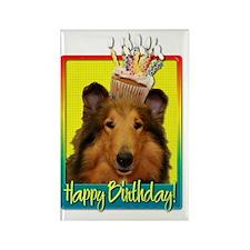 BirthdayCupcakeCollieNatalieHB Rectangle Magnet
