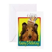 BirthdayCupcakeCollieNatalieHB Greeting Card