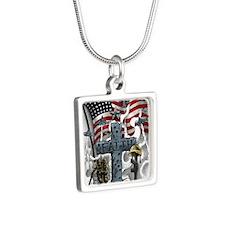 American Patriot Silver Square Necklace