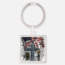 American Patriot Square Keychain
