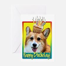 BirthdayCupcakeCorgiOwenHB Greeting Card