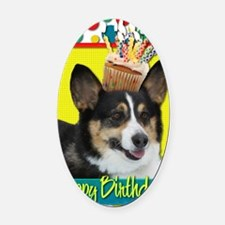 BirthdayCupcakeCorgi Oval Car Magnet