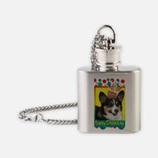 BirthdayCupcakeCorgi Flask Necklace