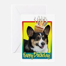 BirthdayCupcakeCorgiHB Greeting Card