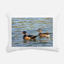 Male and female wood duc Rectangular Canvas Pillow