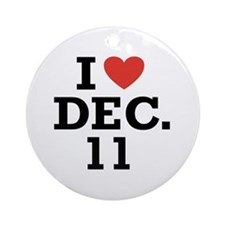 I Heart December 11 Ornament (Round)