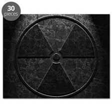 Radioactive Symbol Black Marble Texture Puzzle