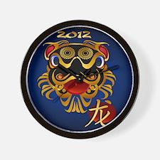Black n Gold Chinese Dragon Face2012l_p Wall Clock