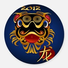 Black n Gold Chinese Dragon Face2 Round Car Magnet