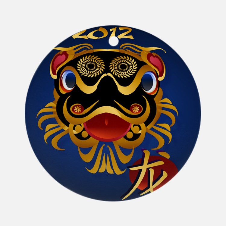 Black n Gold Chinese Dragon Face201 Round Ornament