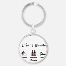 Cycling T Shirt - Life is Simple -  Round Keychain