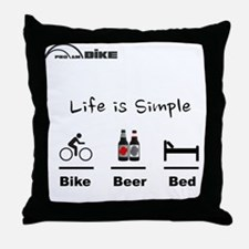 Cycling T Shirt - Life is Simple - Bi Throw Pillow
