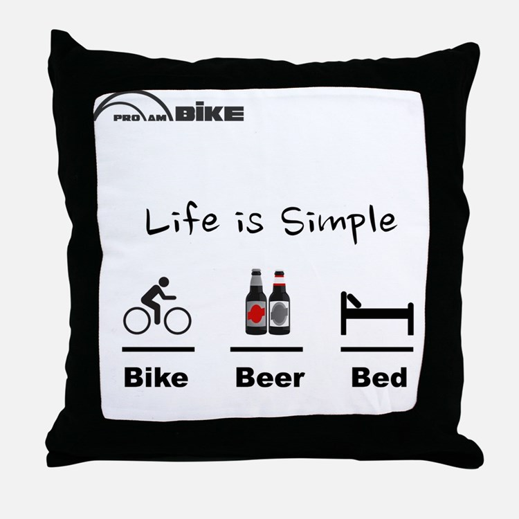 Cycling T Shirt - Life is Simple - Bi Throw Pillow