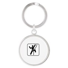 Do Rock Climber White Round Keychain