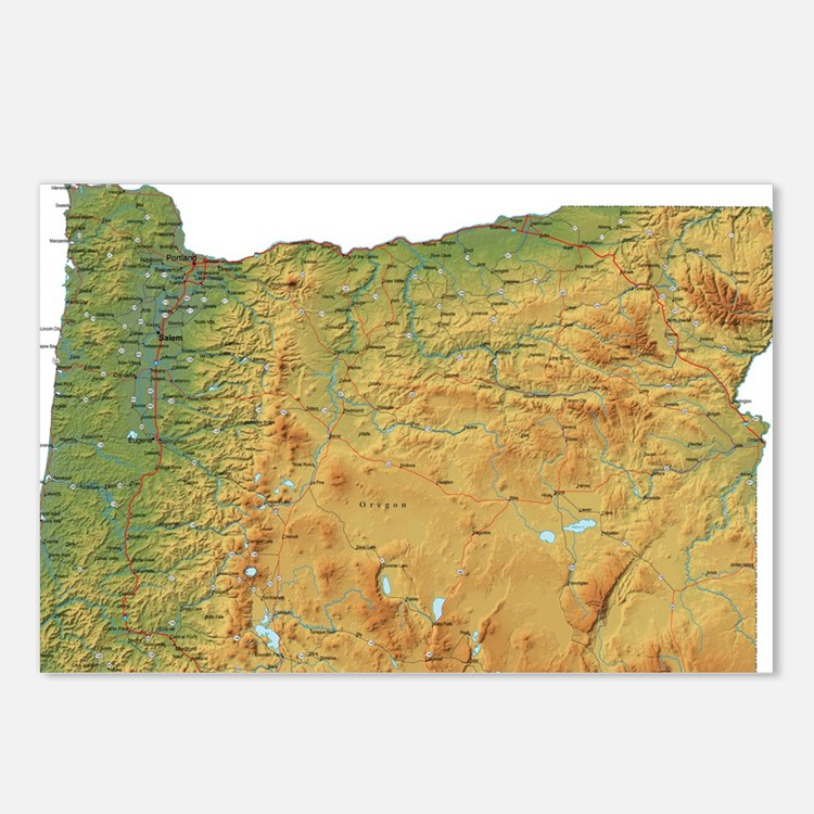 oregon-map Postcards (Package of 8)