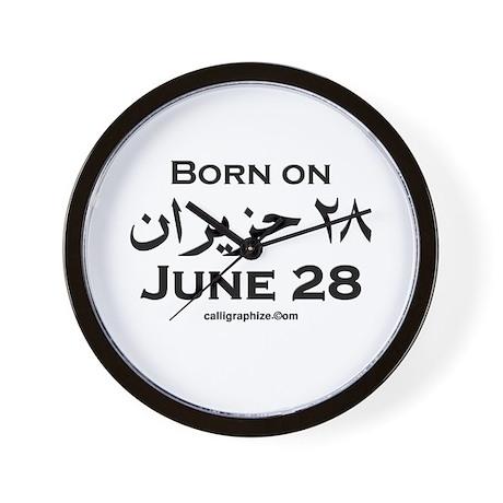 June 28 Birthday Arabic Wall Clock