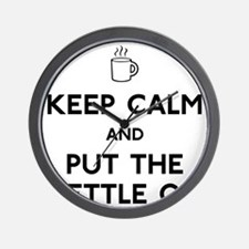FIN-keep-calm-kettle-on-CROP Wall Clock