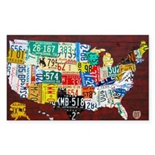 License Plate Map of USA 2012  Decal